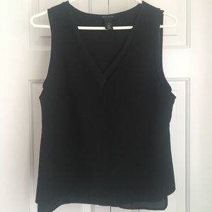 WHBM Black Sleeveless V-neck Blouse